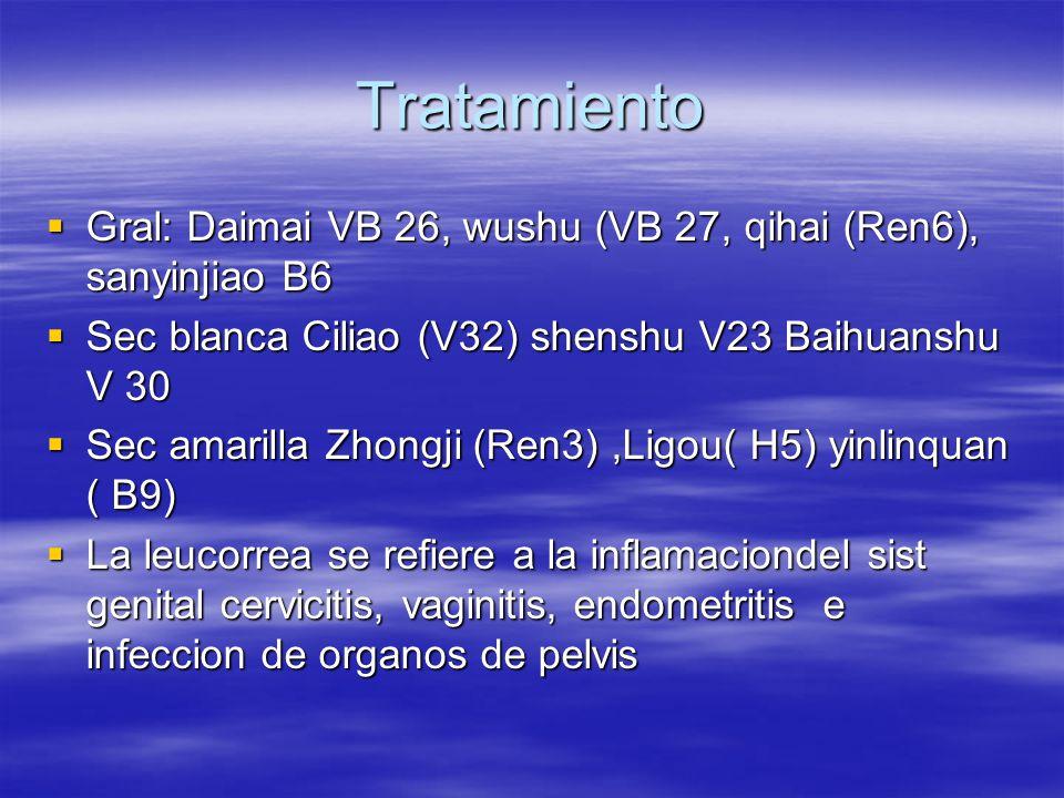 Tratamiento  Gral: Daimai VB 26, wushu (VB 27, qihai (Ren6), sanyinjiao B6  Sec blanca Ciliao (V32) shenshu V23 Baihuanshu V 30  Sec amarilla Zhongji (Ren3),Ligou( H5) yinlinquan ( B9)  La leucorrea se refiere a la inflamaciondel sist genital cervicitis, vaginitis, endometritis e infeccion de organos de pelvis