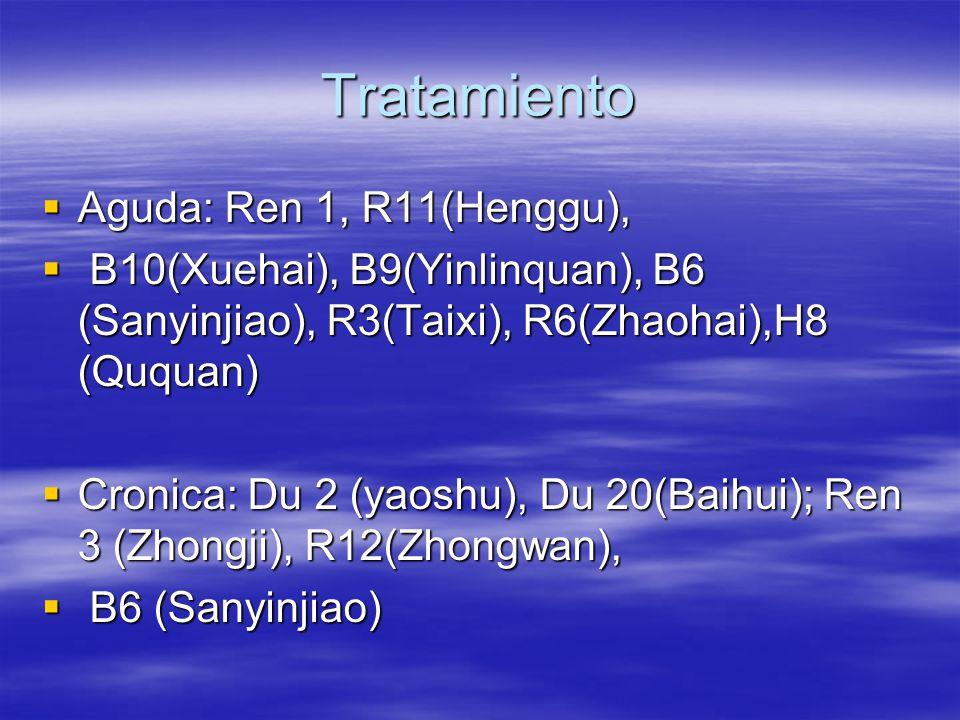 Tratamiento  Aguda: Ren 1, R11(Henggu),  B10(Xuehai), B9(Yinlinquan), B6 (Sanyinjiao), R3(Taixi), R6(Zhaohai),H8 (Ququan)  Cronica: Du 2 (yaoshu), Du 20(Baihui); Ren 3 (Zhongji), R12(Zhongwan),  B6 (Sanyinjiao)