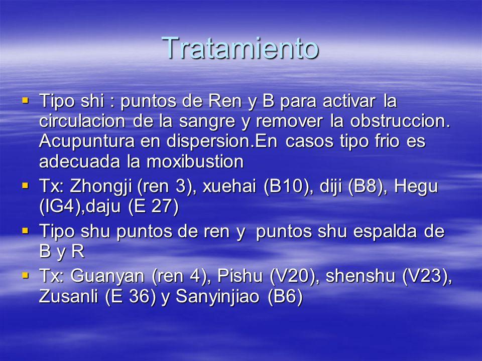 Tratamiento  Tipo shi : puntos de Ren y B para activar la circulacion de la sangre y remover la obstruccion.