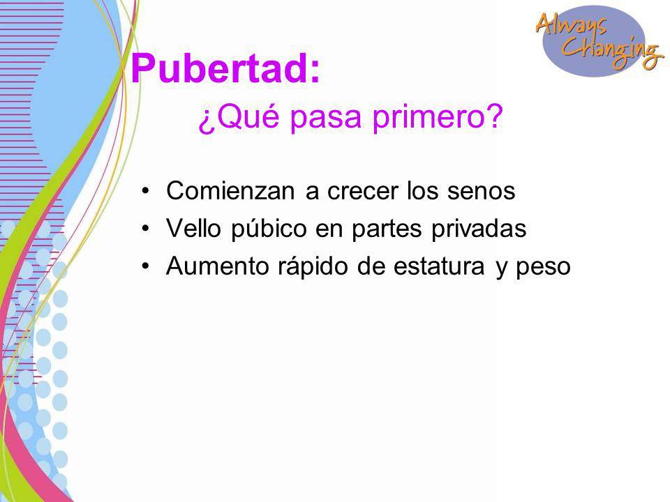 Comienzan a crecer los senos Vello púbico en partes privadas Aumento rápido de estatura y peso Pubertad: ¿Qué pasa primero