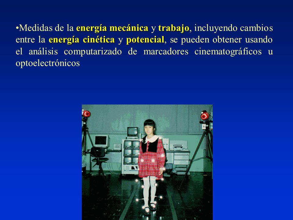 energía mecánicatrabajo energía cinéticapotencialMedidas de la energía mecánica y trabajo, incluyendo cambios entre la energía cinética y potencial, se pueden obtener usando el análisis computarizado de marcadores cinematográficos u optoelectrónicos