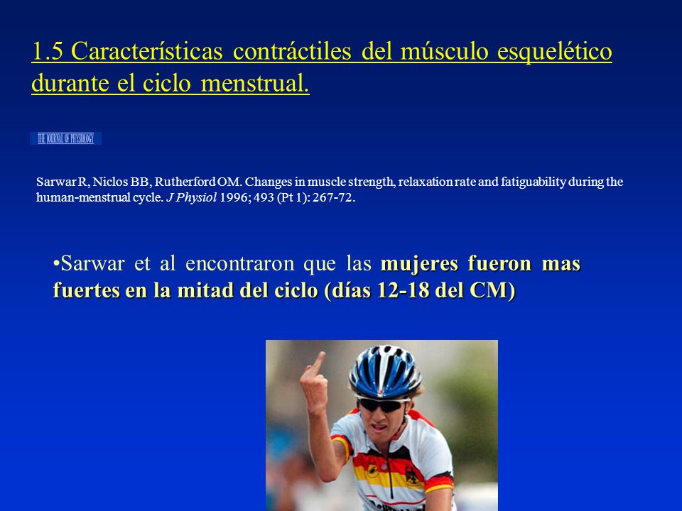 1.5 Características contráctiles del músculo esquelético durante el ciclo menstrual.
