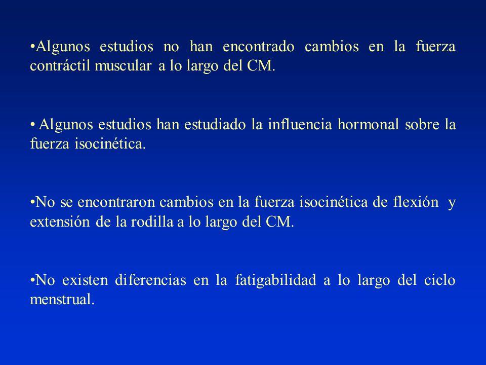 Algunos estudios no han encontrado cambios en la fuerza contráctil muscular a lo largo del CM.