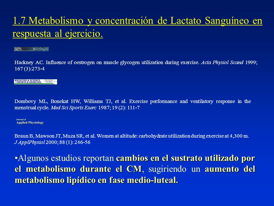 1.7 Metabolismo y concentración de Lactato Sanguíneo en respuesta al ejercicio.