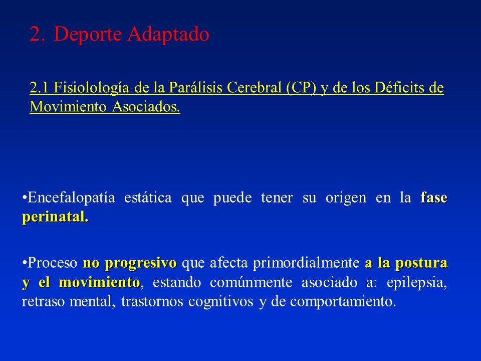 2.Deporte Adaptado 2.1 Fisiolología de la Parálisis Cerebral (CP) y de los Déficits de Movimiento Asociados.