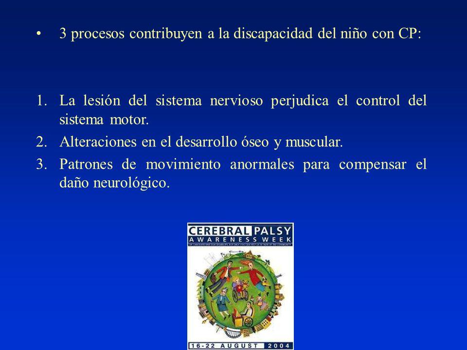 3 procesos contribuyen a la discapacidad del niño con CP: 1.La lesión del sistema nervioso perjudica el control del sistema motor.