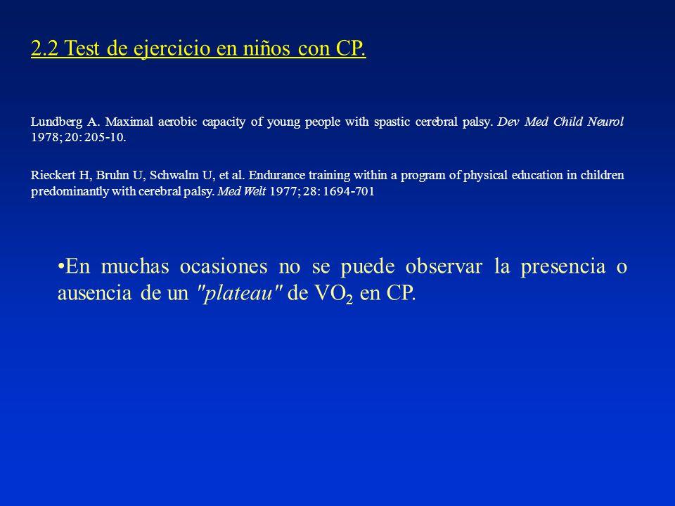 2.2 Test de ejercicio en niños con CP.