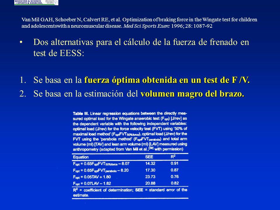 Dos alternativas para el cálculo de la fuerza de frenado en test de EESS: fuerza óptima obtenida en un test de F /V.