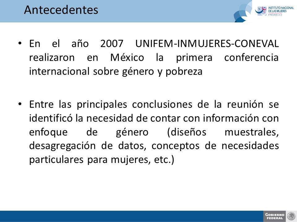 En el año 2007 UNIFEM-INMUJERES-CONEVAL realizaron en México la primera conferencia internacional sobre género y pobreza Entre las principales conclusiones de la reunión se identificó la necesidad de contar con información con enfoque de género (diseños muestrales, desagregación de datos, conceptos de necesidades particulares para mujeres, etc.) Antecedentes