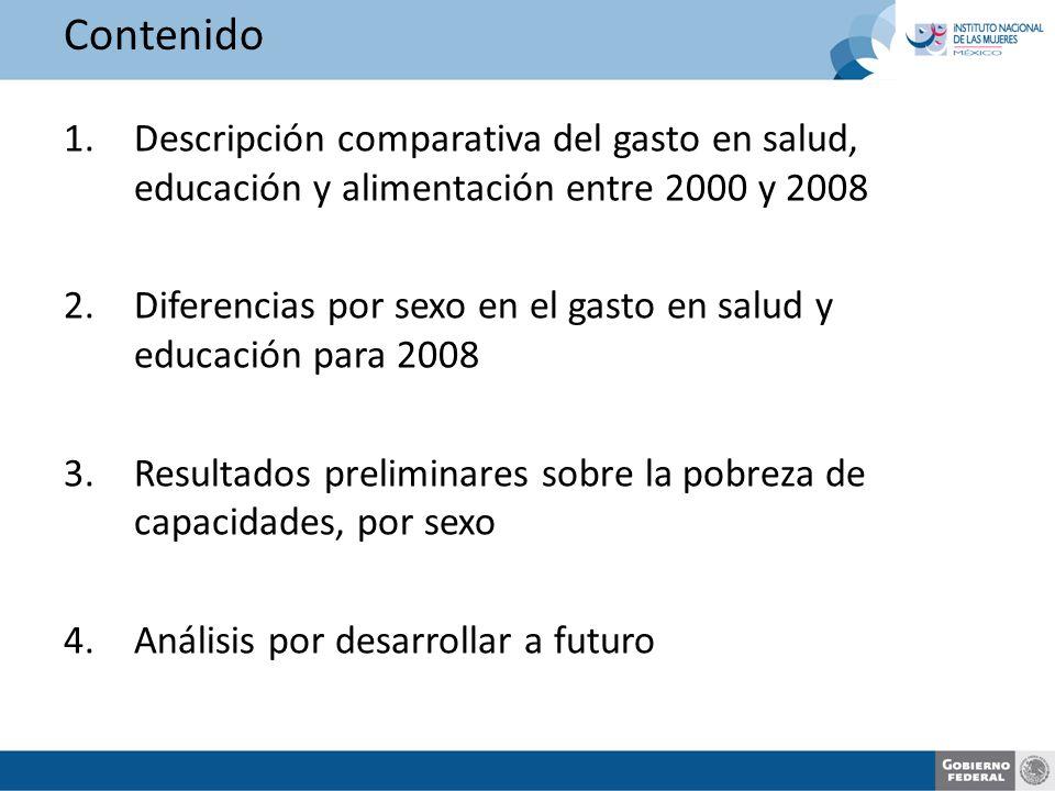 Contenido 1.Descripción comparativa del gasto en salud, educación y alimentación entre 2000 y 2008 2.Diferencias por sexo en el gasto en salud y educación para 2008 3.Resultados preliminares sobre la pobreza de capacidades, por sexo 4.Análisis por desarrollar a futuro