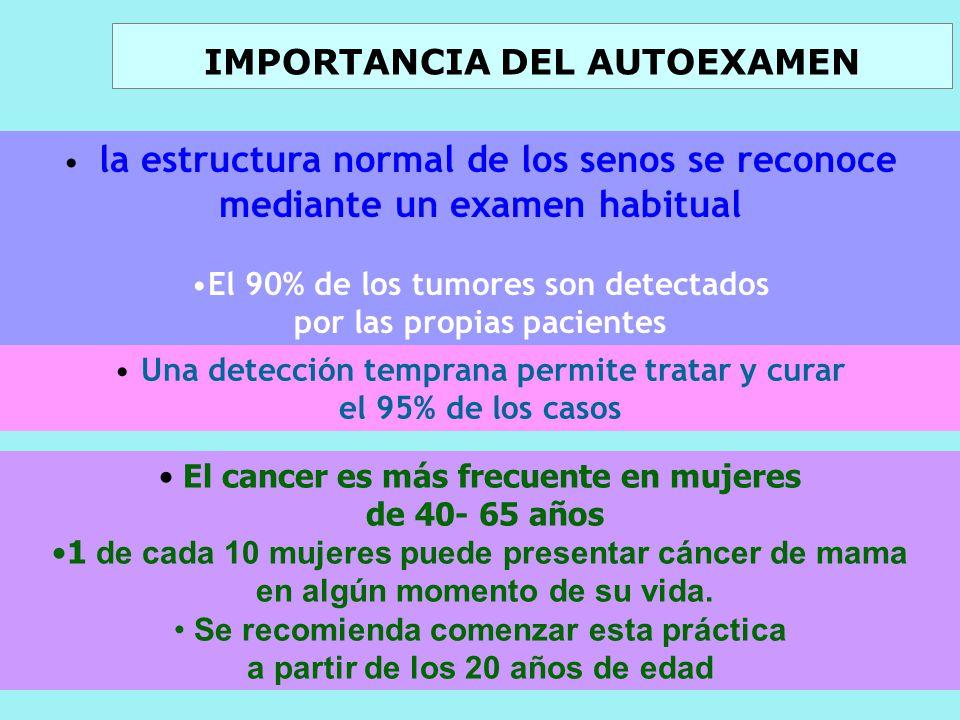 IMPORTANCIA DEL AUTOEXAMEN El cancer es más frecuente en mujeres de 40- 65 años 1 de cada 10 mujeres puede presentar cáncer de mama en algún momento de su vida.