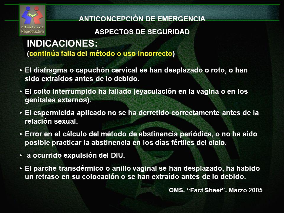 ANTICONCEPCIÓN DE EMERGENCIA ASPECTOS DE SEGURIDAD INDICACIONES: (continúa falla del método o uso incorrecto) OMS.