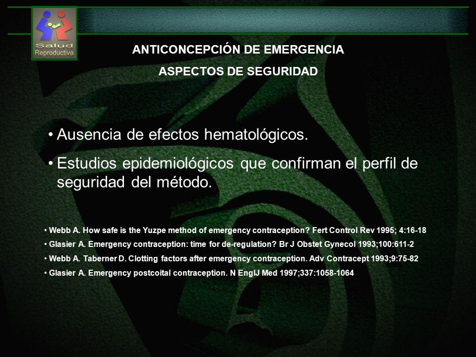 ANTICONCEPCIÓN DE EMERGENCIA ASPECTOS DE SEGURIDAD Ausencia de efectos hematológicos.