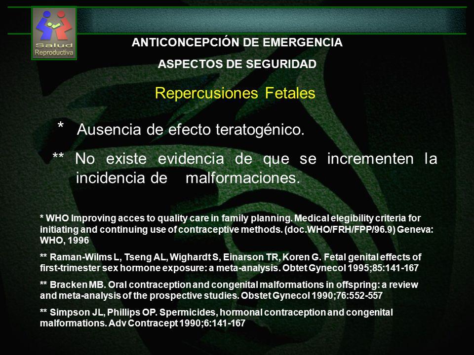 Repercusiones Fetales ANTICONCEPCIÓN DE EMERGENCIA ASPECTOS DE SEGURIDAD * Ausencia de efecto teratogénico.