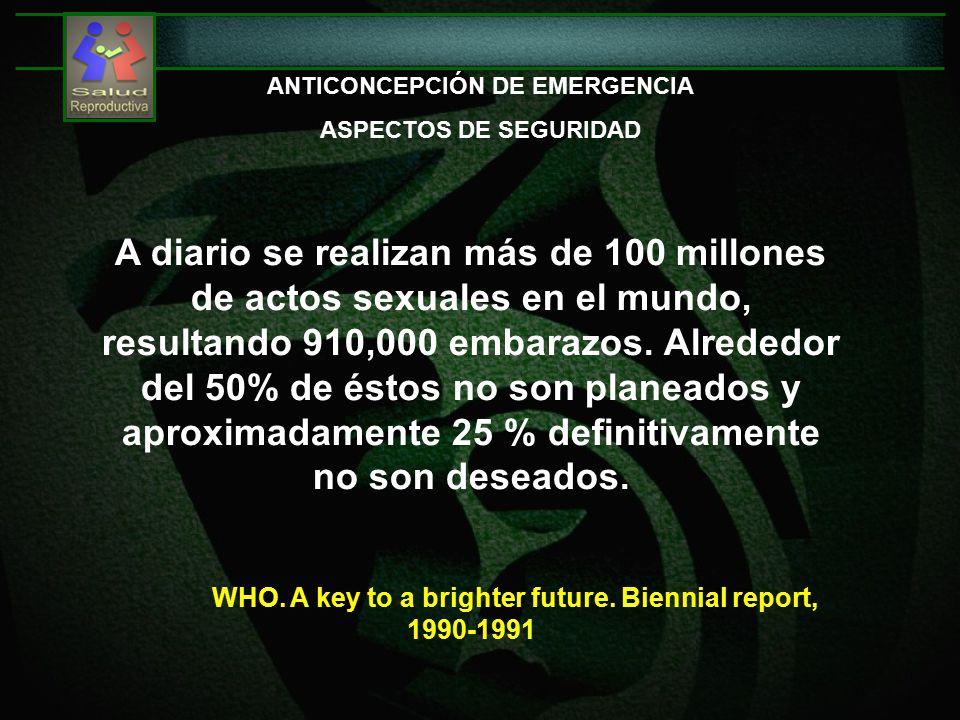 A diario se realizan más de 100 millones de actos sexuales en el mundo, resultando 910,000 embarazos.