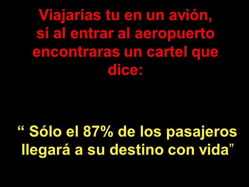 Viajarías tu en un avión, si al entrar al aeropuerto encontraras un cartel que dice: Sólo el 87% de los pasajeros llegará a su destino con vida