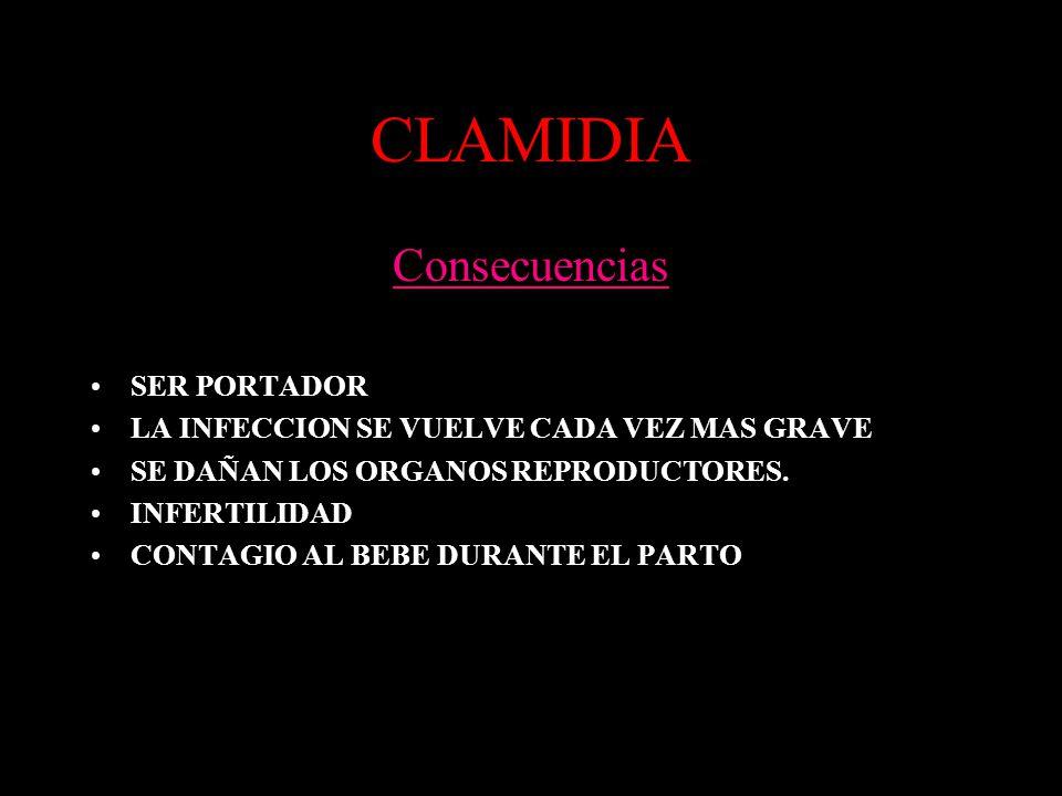 CLAMIDIA Consecuencias SER PORTADOR LA INFECCION SE VUELVE CADA VEZ MAS GRAVE SE DAÑAN LOS ORGANOS REPRODUCTORES. INFERTILIDAD CONTAGIO AL BEBE DURANT