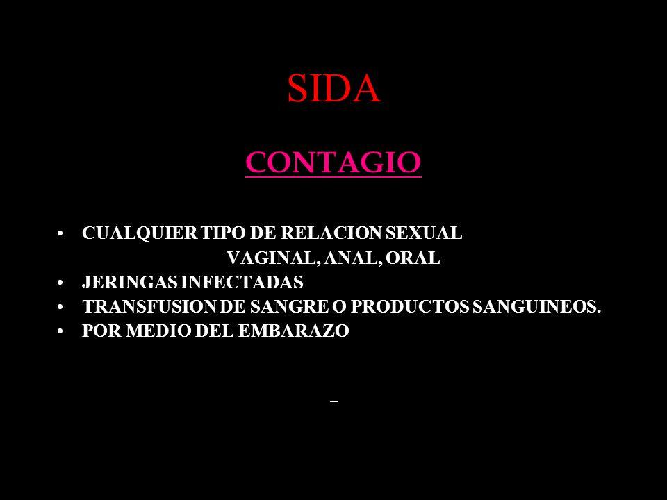 SIDA CONTAGIO CUALQUIER TIPO DE RELACION SEXUAL VAGINAL, ANAL, ORAL JERINGAS INFECTADAS TRANSFUSION DE SANGRE O PRODUCTOS SANGUINEOS. POR MEDIO DEL EM