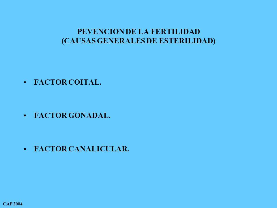 PEVENCION DE LA FERTILIDAD (CAUSAS GENERALES DE ESTERILIDAD) FACTOR COITAL.