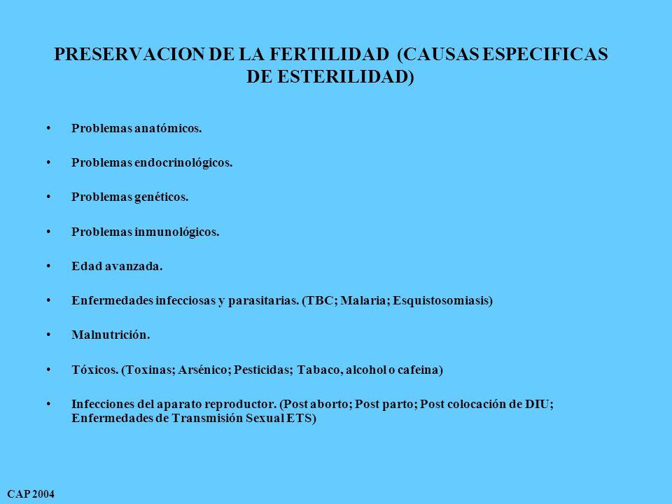 PRESERVACION DE LA FERTILIDAD (CAUSAS ESPECIFICAS DE ESTERILIDAD) Problemas anatómicos.