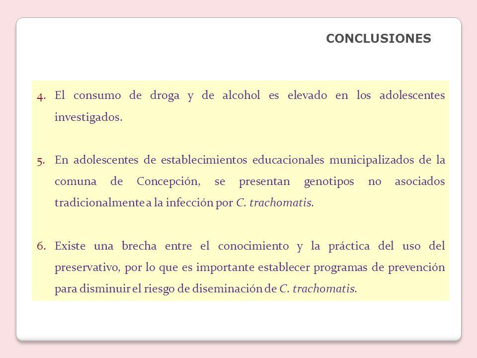 4.El consumo de droga y de alcohol es elevado en los adolescentes investigados.