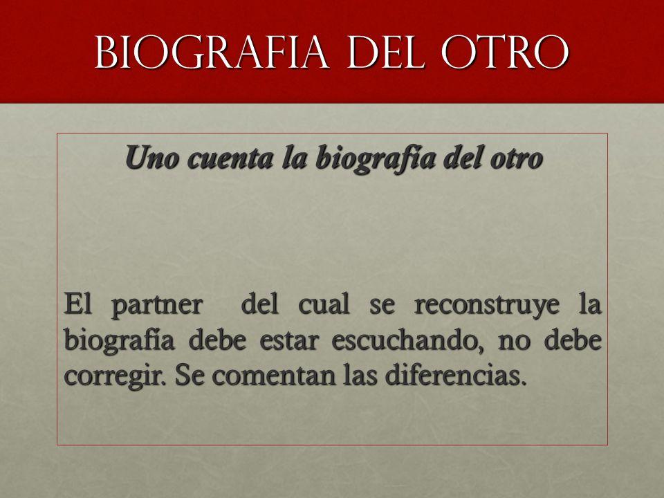 BIOGRAFIA DEL otro Uno cuenta la biografía del otro El partner del cual se reconstruye la biografía debe estar escuchando, no debe corregir.