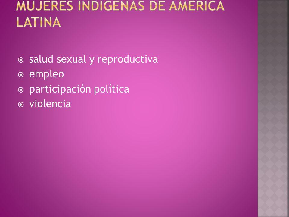  salud sexual y reproductiva  empleo  participación política  violencia