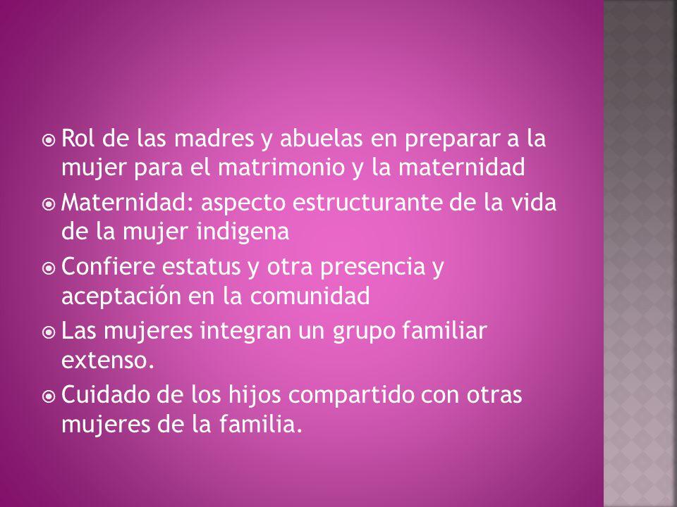  Rol de las madres y abuelas en preparar a la mujer para el matrimonio y la maternidad  Maternidad: aspecto estructurante de la vida de la mujer indigena  Confiere estatus y otra presencia y aceptación en la comunidad  Las mujeres integran un grupo familiar extenso.