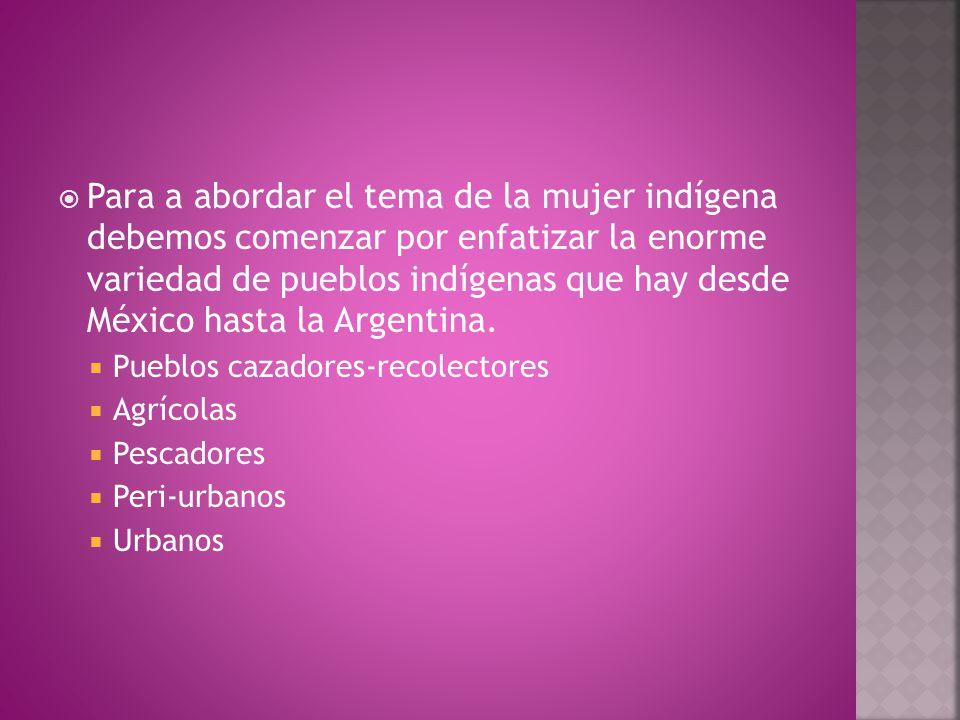  Para a abordar el tema de la mujer indígena debemos comenzar por enfatizar la enorme variedad de pueblos indígenas que hay desde México hasta la Argentina.