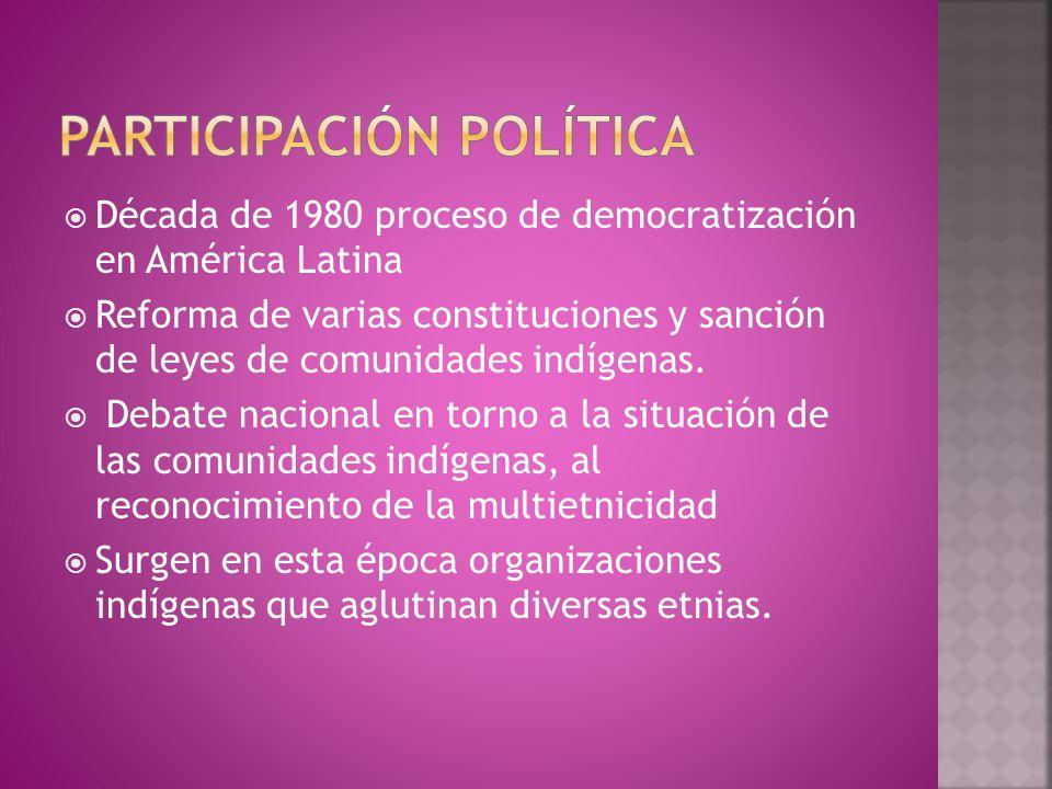  Década de 1980 proceso de democratización en América Latina  Reforma de varias constituciones y sanción de leyes de comunidades indígenas.