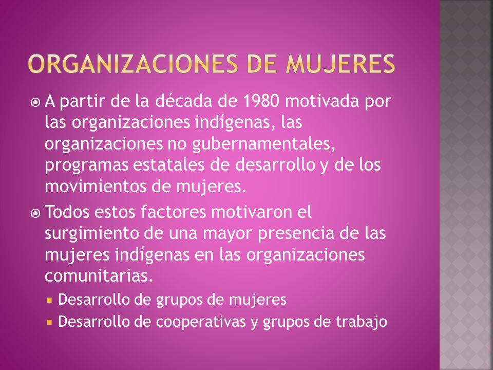  A partir de la década de 1980 motivada por las organizaciones indígenas, las organizaciones no gubernamentales, programas estatales de desarrollo y de los movimientos de mujeres.