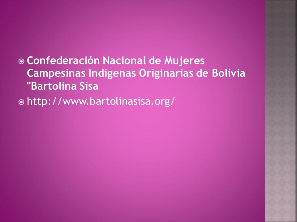  Confederación Nacional de Mujeres Campesinas Indígenas Originarias de Bolivia Bartolina Sisa  http://www.bartolinasisa.org/