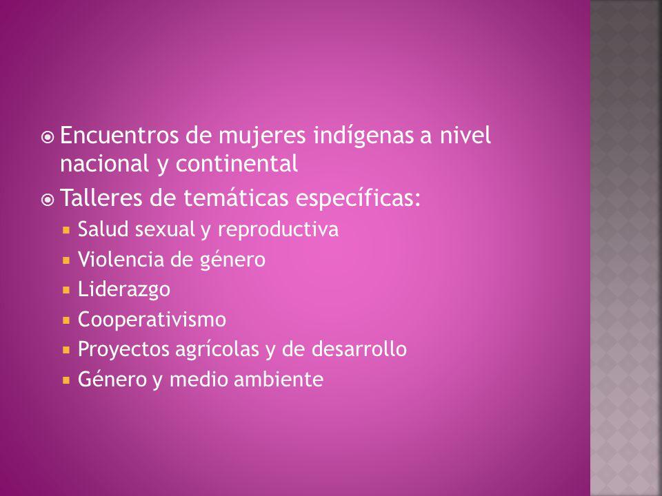  Encuentros de mujeres indígenas a nivel nacional y continental  Talleres de temáticas específicas:  Salud sexual y reproductiva  Violencia de género  Liderazgo  Cooperativismo  Proyectos agrícolas y de desarrollo  Género y medio ambiente