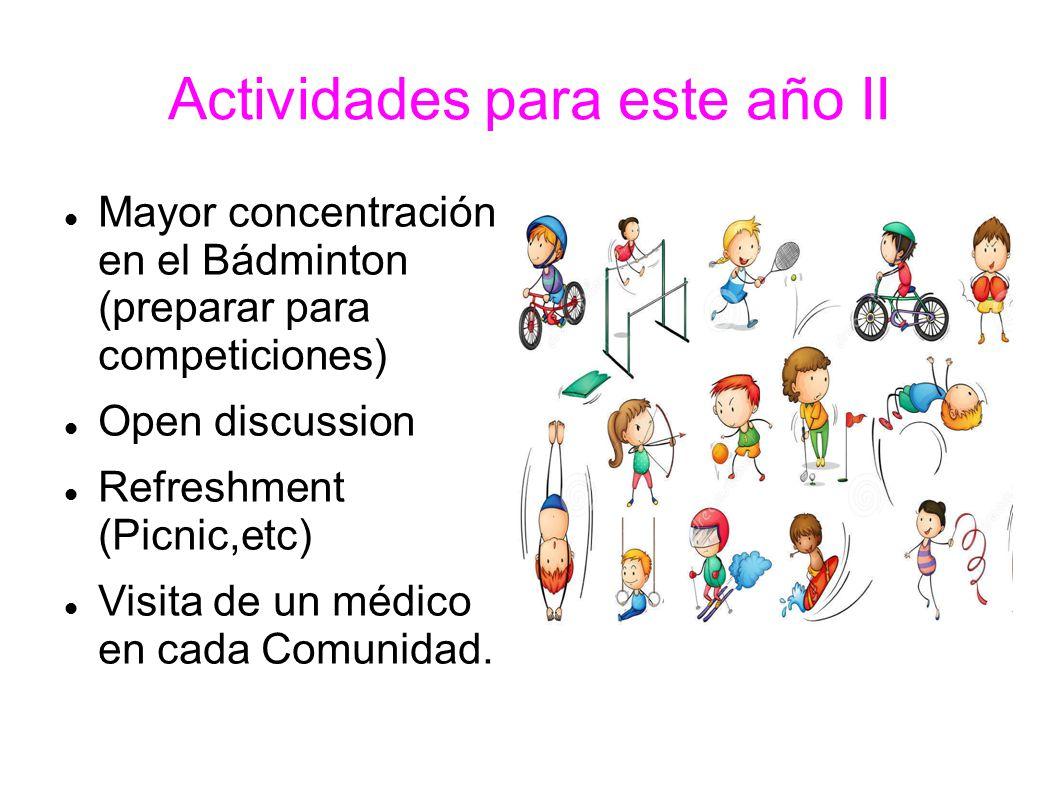 Actividades para este año II Mayor concentración en el Bádminton (preparar para competiciones) Open discussion Refreshment (Picnic,etc) Visita de un médico en cada Comunidad.