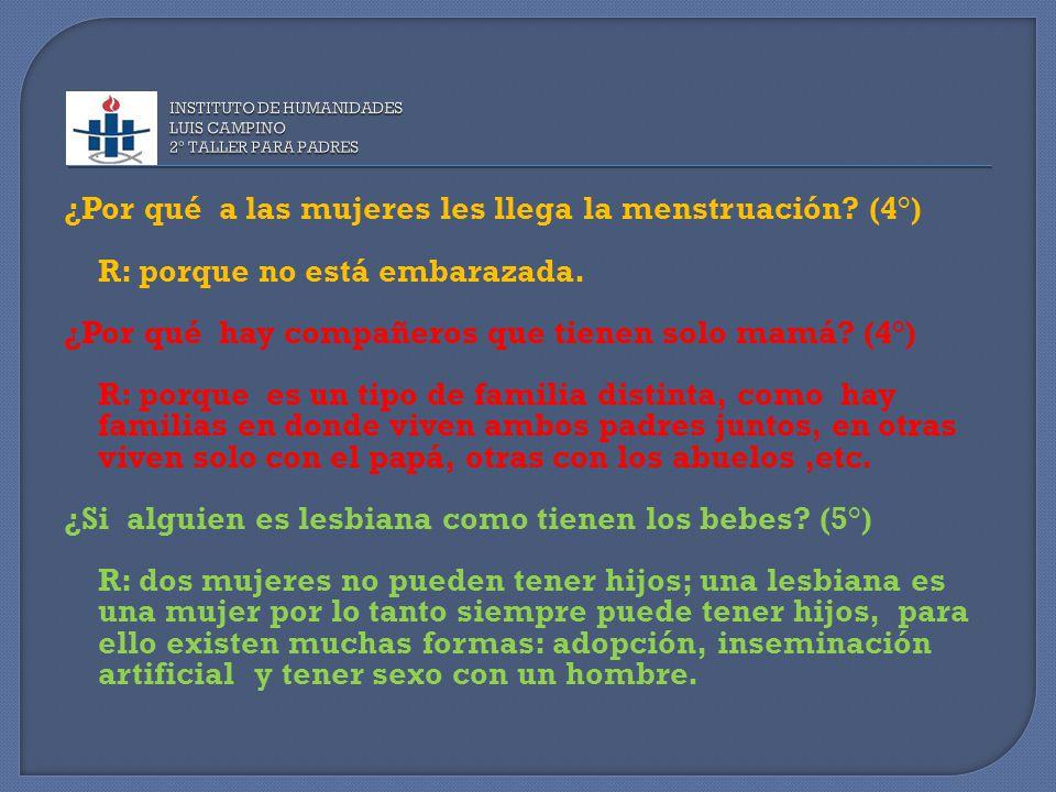 ¿Por qué a las mujeres les llega la menstruación. (4°) R: porque no está embarazada.