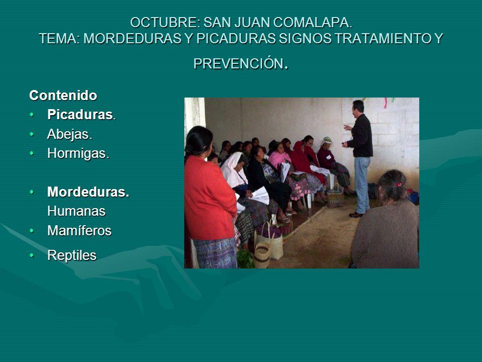 OCTUBRE: SAN JUAN COMALAPA. TEMA: MORDEDURAS Y PICADURAS SIGNOS TRATAMIENTO Y PREVENCIÓN.