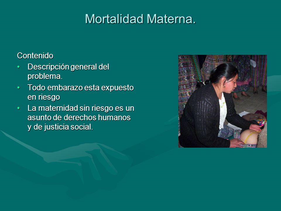 Mortalidad Materna. Contenido Descripción general del problema.Descripción general del problema.