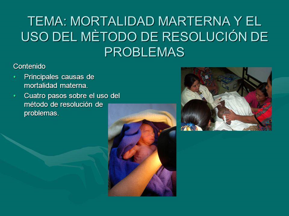 TEMA: MORTALIDAD MARTERNA Y EL USO DEL MÈTODO DE RESOLUCIÓN DE PROBLEMAS Contenido Principales causas de mortalidad materna.Principales causas de mortalidad materna.