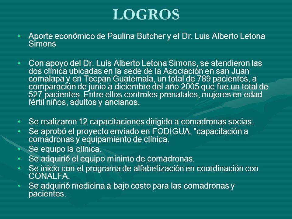 LOGROS Aporte económico de Paulina Butcher y el Dr.