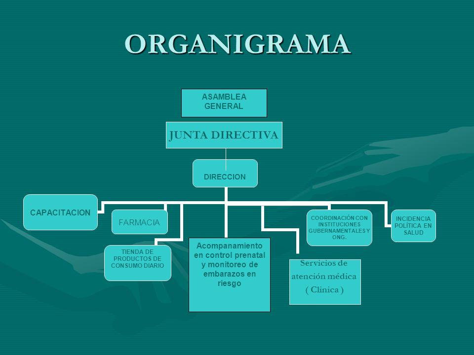 ORGANIGRAMA ASAMBLEA GENERAL Acompanamiento en control prenatal y monitoreo de embarazos en riesgo Servicios de atención médica ( Clinica ) JUNTA DIRECTIVA