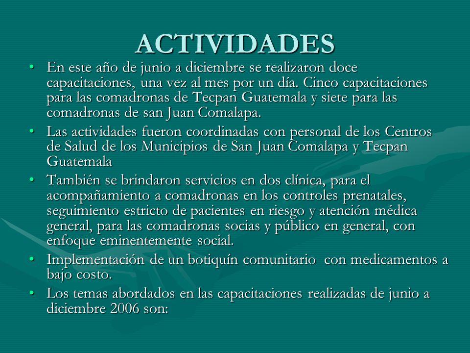 ACTIVIDADES En este año de junio a diciembre se realizaron doce capacitaciones, una vez al mes por un día.