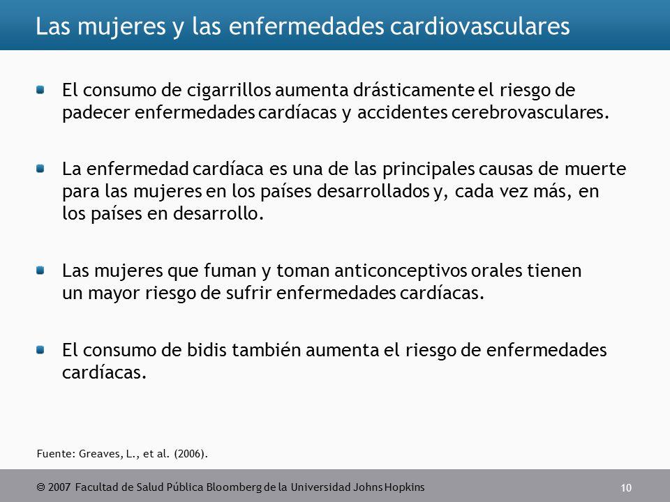  2007 Facultad de Salud Pública Bloomberg de la Universidad Johns Hopkins 10 Fuente: Greaves, L., et al.