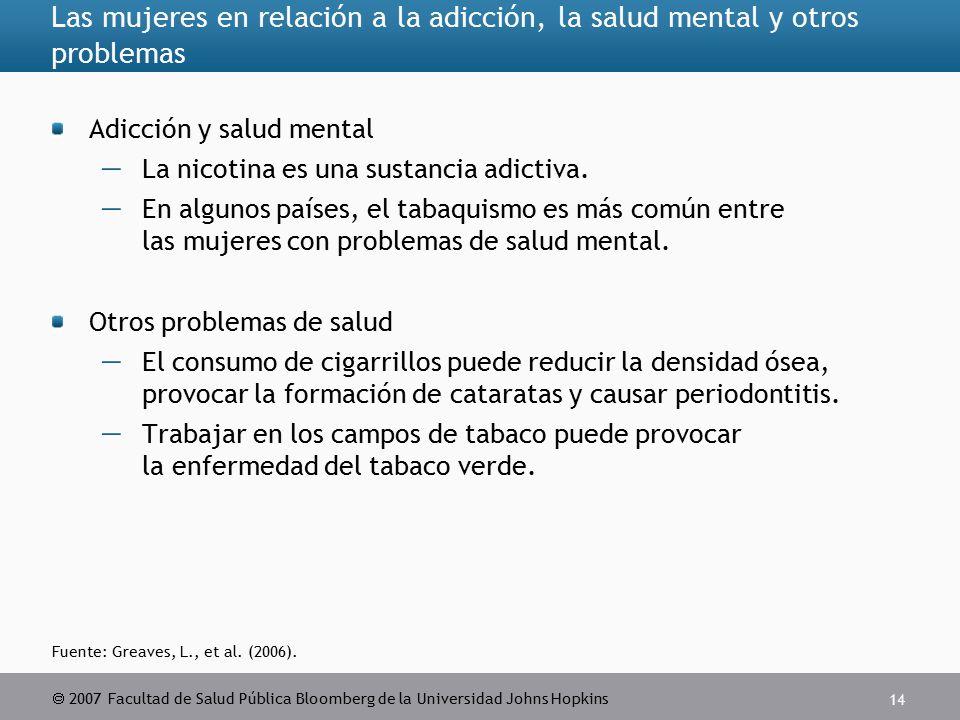  2007 Facultad de Salud Pública Bloomberg de la Universidad Johns Hopkins 14 Las mujeres en relación a la adicción, la salud mental y otros problemas Adicción y salud mental  La nicotina es una sustancia adictiva.