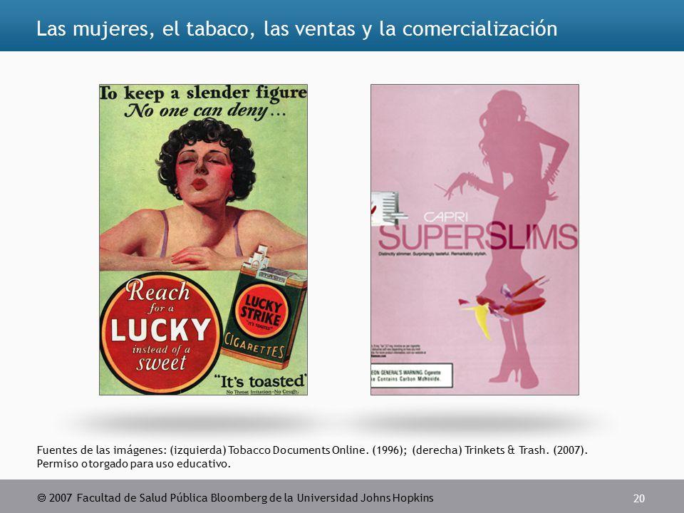  2007 Facultad de Salud Pública Bloomberg de la Universidad Johns Hopkins 20 Fuentes de las imágenes: (izquierda) Tobacco Documents Online.