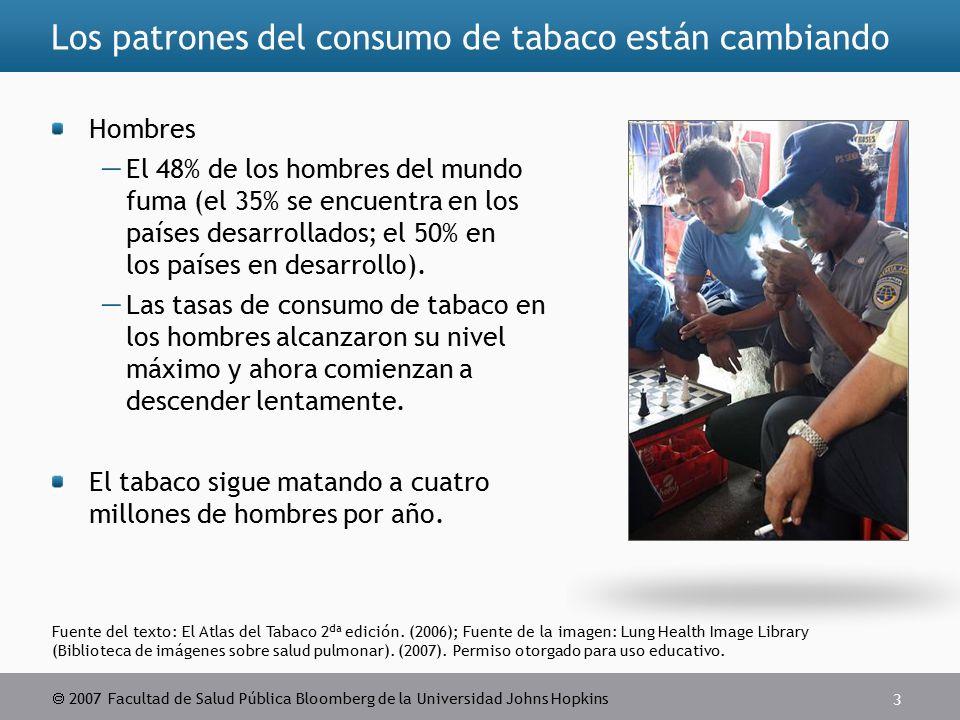 2007 Facultad de Salud Pública Bloomberg de la Universidad Johns Hopkins 3 Fuente del texto: El Atlas del Tabaco 2 da edición.