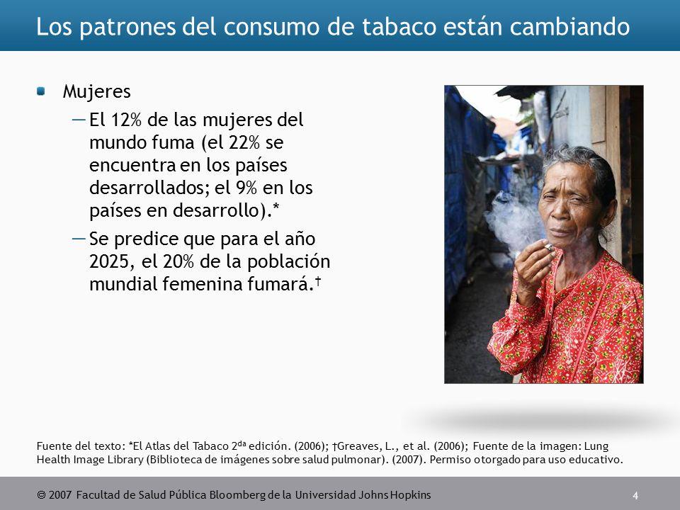  2007 Facultad de Salud Pública Bloomberg de la Universidad Johns Hopkins 4 Fuente del texto: *El Atlas del Tabaco 2 da edición.