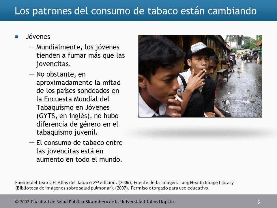  2007 Facultad de Salud Pública Bloomberg de la Universidad Johns Hopkins 5 Fuente del texto: El Atlas del Tabaco 2 da edición.