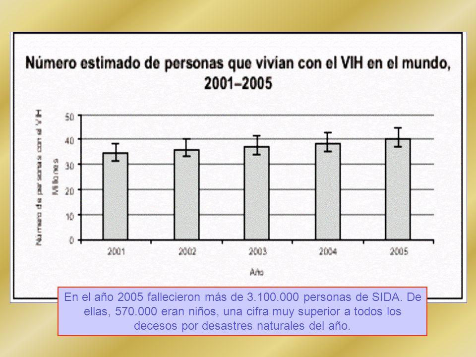 En el año 2005 fallecieron más de 3.100.000 personas de SIDA.