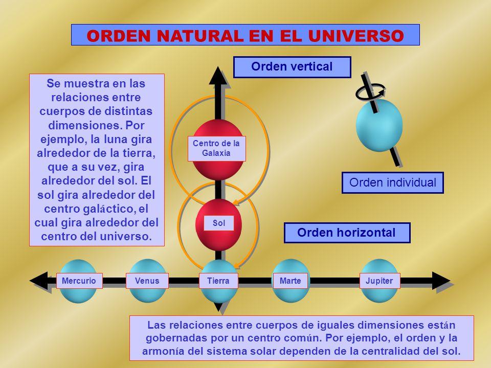 Centro de la Galaxia Sol TierraMarteJupiter MercurioVenus Orden vertical Orden horizontal Orden individual ORDEN NATURAL EN EL UNIVERSO Se muestra en las relaciones entre cuerpos de distintas dimensiones.