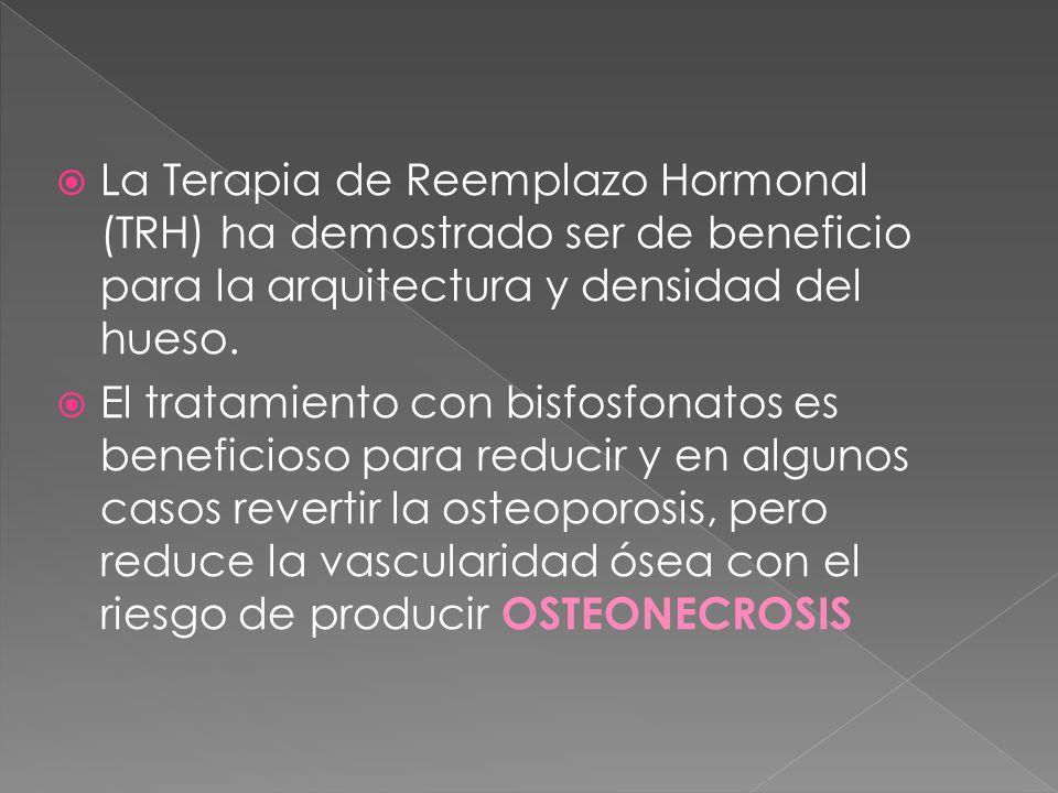  La Terapia de Reemplazo Hormonal (TRH) ha demostrado ser de beneficio para la arquitectura y densidad del hueso.